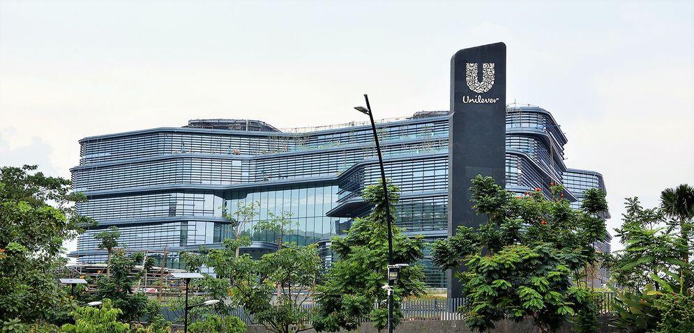 Graha Unilever milik PT Unilever Indonesia Tbk. (UNVR) di kawasan Green Office Park, Bumi Serpong Damai (BSD), Tangerang, Banten. / Foto: Unilever Indonesia \n