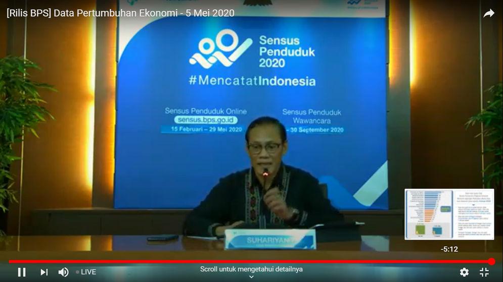 Suhariyanto, Kepala Badan Pusat Statistik (BPS) menyampaikan kinerja pertumbuhan ekonomi Indonesia kuartal I-2020 dalam konferensi pers virtual di Kantor BPS, Jakarta, Selasa, 5 Mei 2020/ Sumber: Dokumentasi Trenasia.co\n