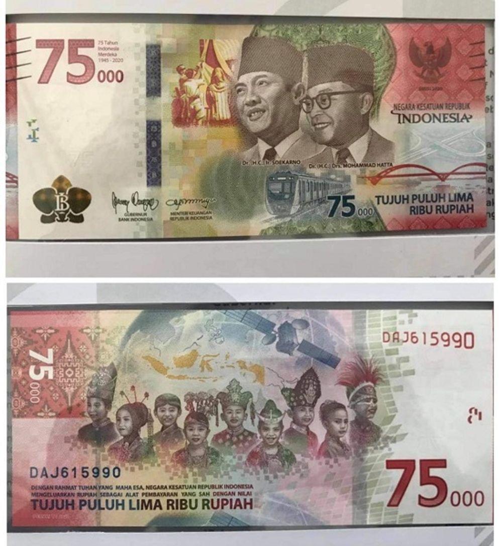 Uang rupiah baru pecahaan Rp75.000 yang dirilis untuk memperingati HUT ke-75 RI. / Istimewa\n