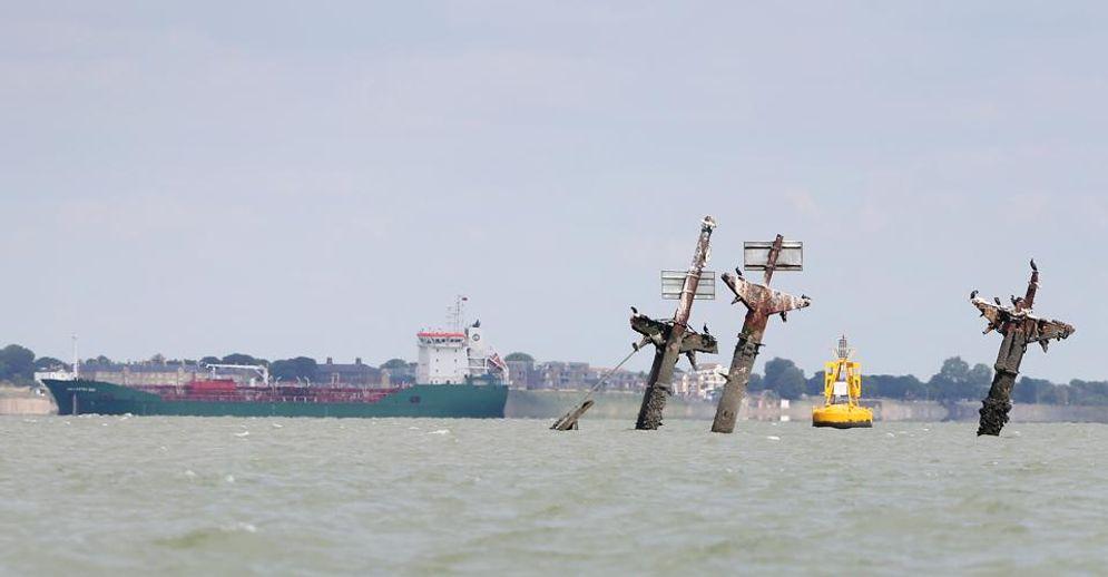 Bangkai kapal era Perang Dunia II di pantai Inggris /Forbes\n