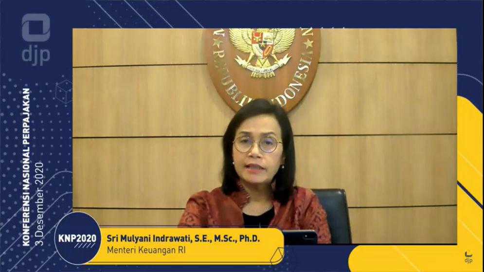 Menteri Keuangan, Sri Mulyani Indrawati dalam Konferensi Nasional Perpajakan secara virtual, Kamis, 3 November 2020/ Sumber: Tangkapan layar TrenAsia.com\n
