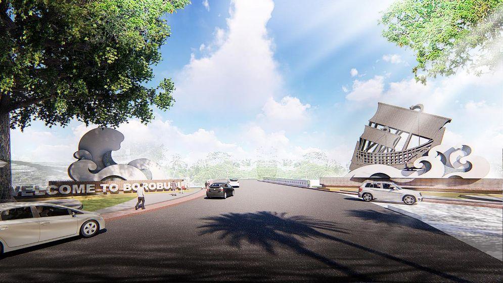 Rancangan ikon Gerbang Kapal sebagai pintu masuk ke Candi Borobudur dari arah Kulon Progo. /Dok Kementerian PUPR\n