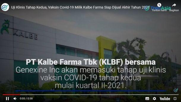 Produksi Vaksin Corona dari Kalbe Farma Siap Beredar Akhir 2021