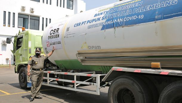 Lampung Terima Bantuan Oksigen Cair dari PT Pusri dan PT OKI Pulp & Paper
