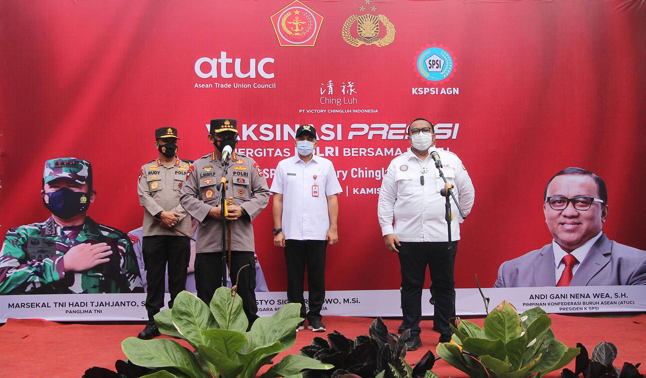 Kapolri  Dan Presiden KSPSI Tinjau Vaksinasi Buruh Tangerang