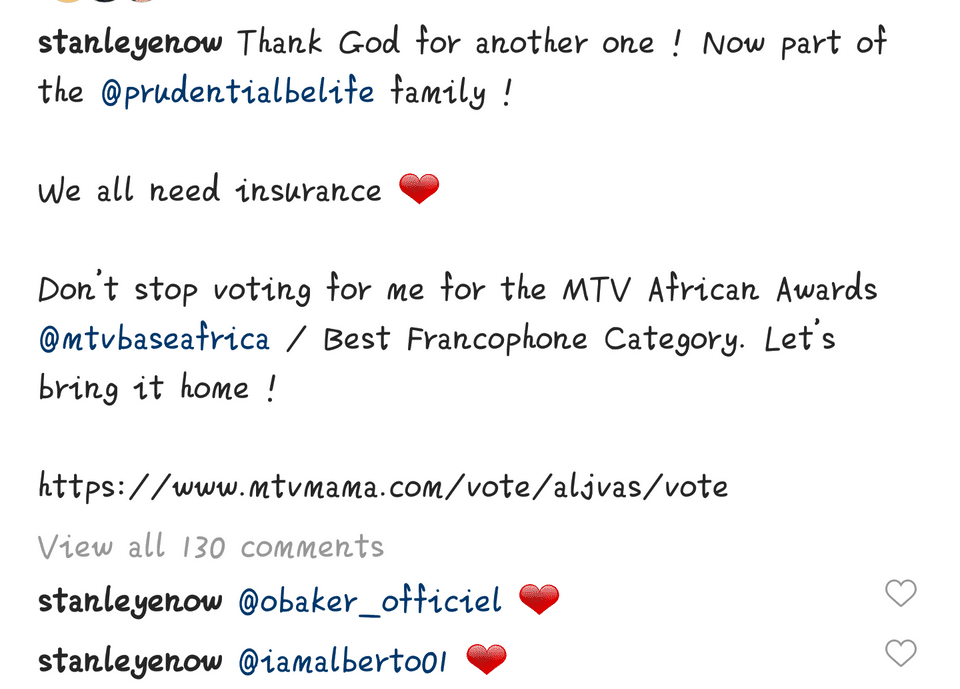 He mentions how grateful he is and reminds his fans to keep voting for him as Best Francophone Act at MAMA, Kampala 2021.