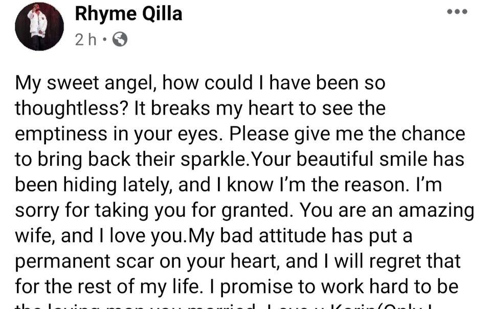 Rhyme Qilla Pens Down Apology Letter To Wife Askia