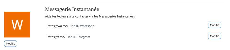 Configuration des Messageries Instantanées