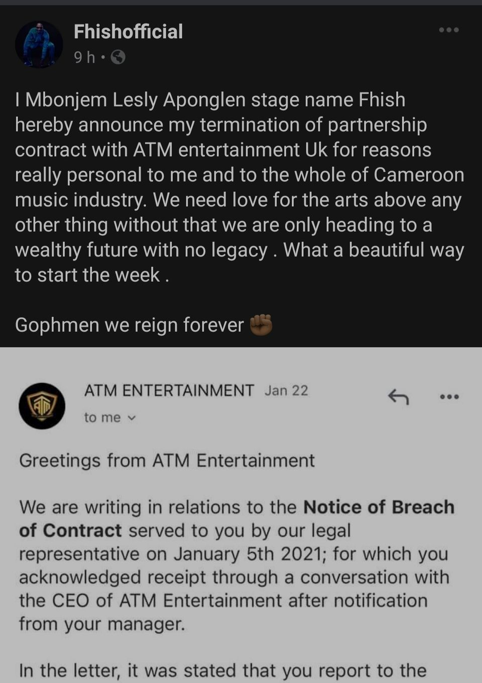 Fhish Replies To Termination of Contract