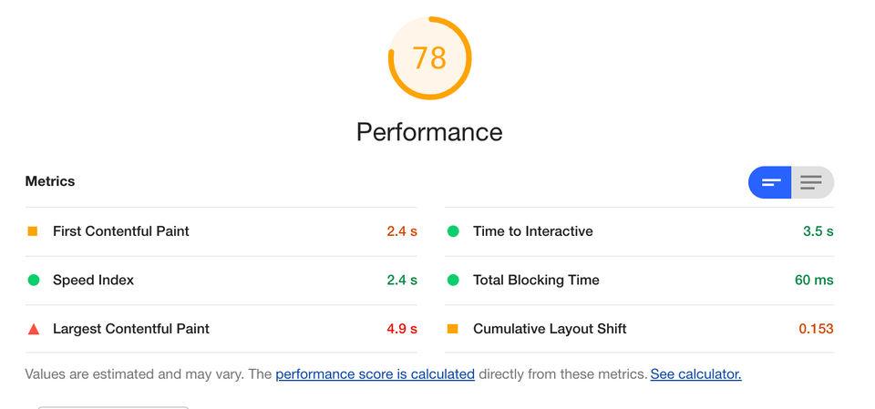 Lighthouse score after stylesheet optimization