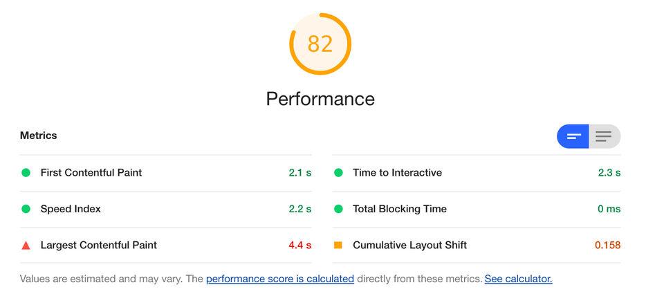 Lighthouse score after javascript optimization