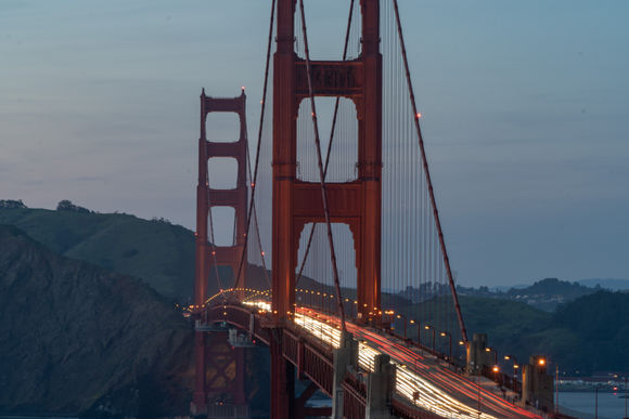 Golden Gate Bridge at night from the side