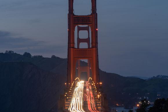 Golden Gate Bridge at night, horizontal