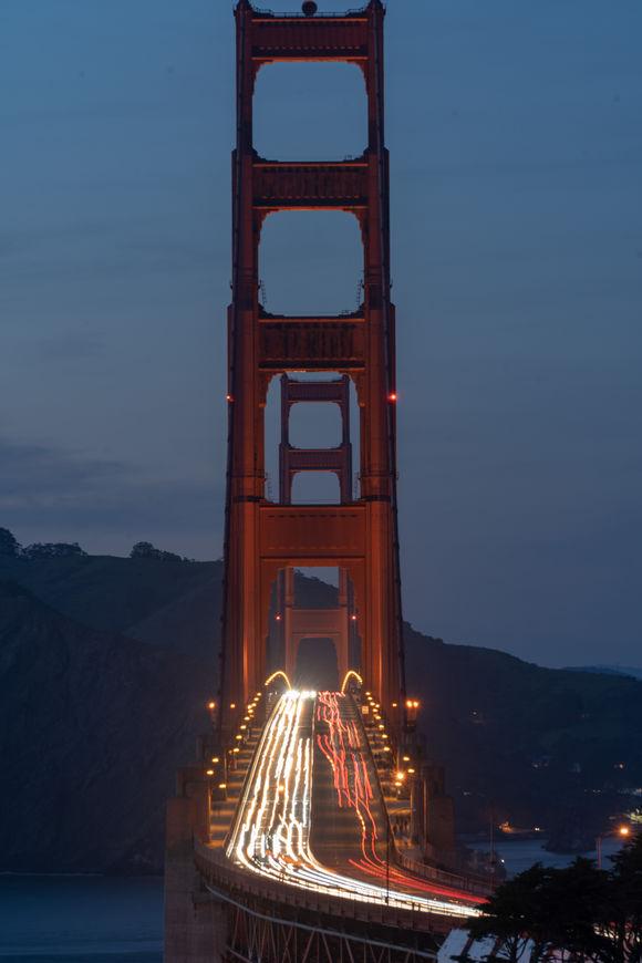 Golden Gate Bridge at night, vertical
