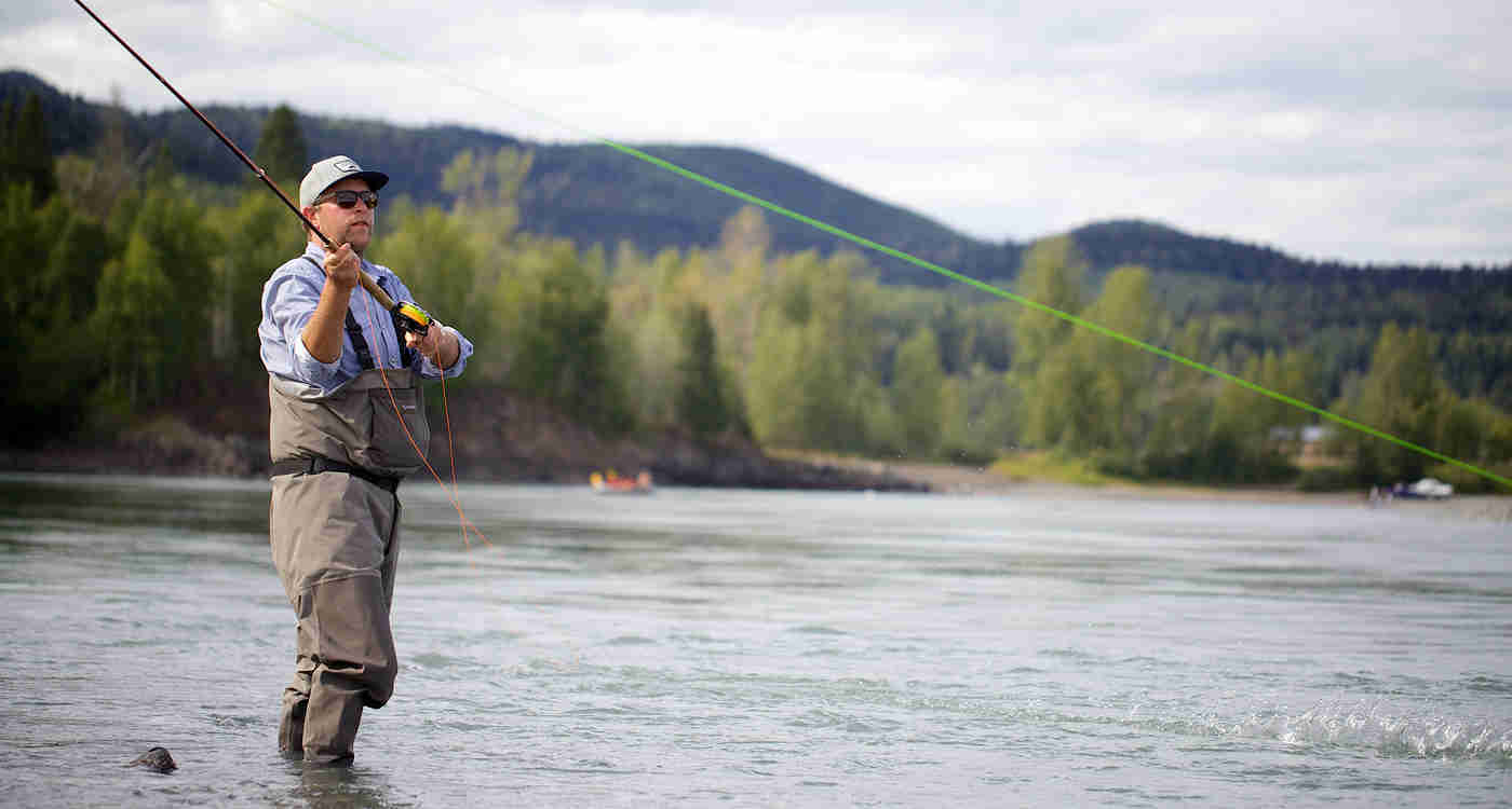 Angler spey casting on the Bulkley River in Smithers