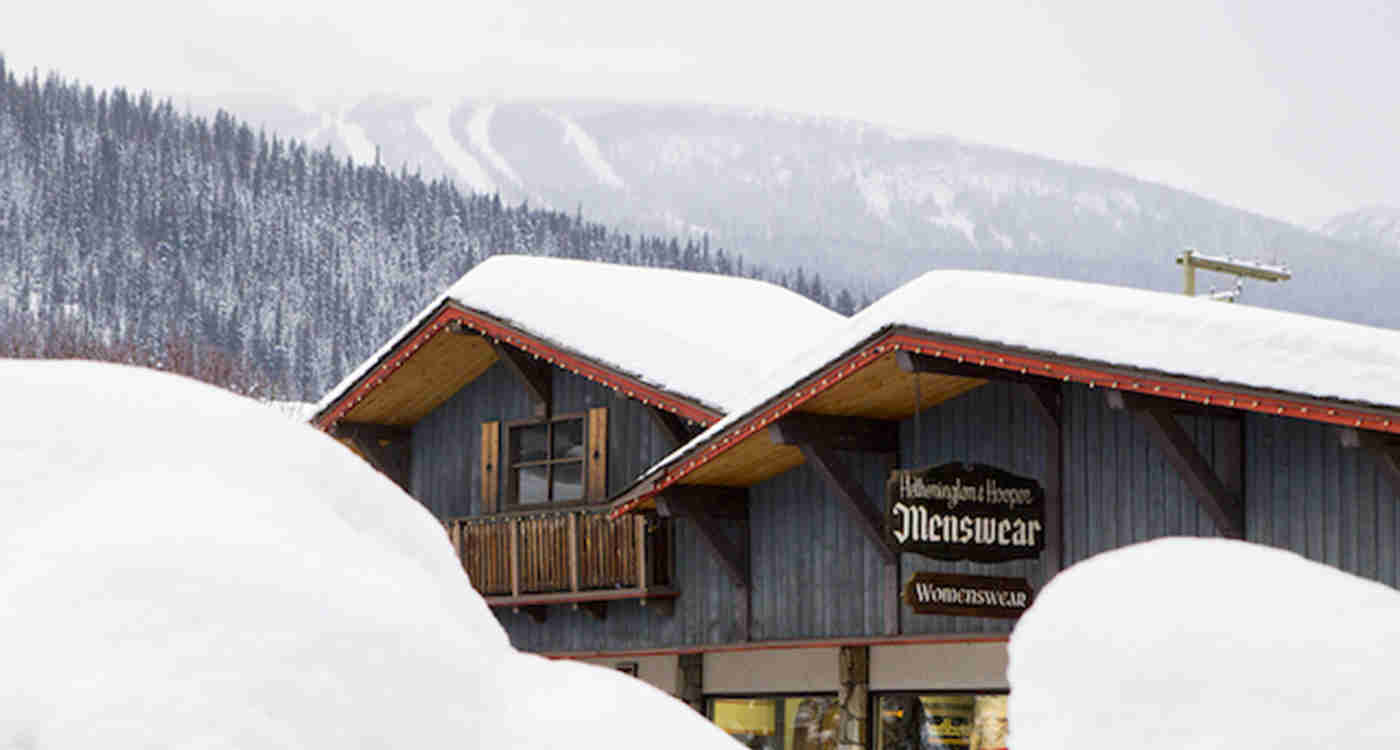 Main Street Smithers Shop with Ski Hill in Background