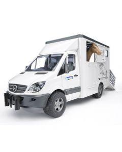 Bruder - MB Sprinter Animal Transporter with Horse 02533