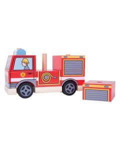 Wooden Stacking Fire Engine