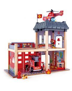 Hape Large Wooden Fire Station and Accessories