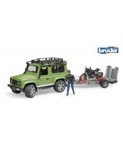 Bruder Land Rover Defender with trailer Scrambler Motobike