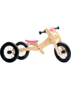 Trybike Wooden 4 in 1 with pink saddle seat cover