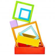 Wooden Stacking Squares Rainbow Colours