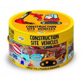Construction Site Book and Giant Puzzle Set 30 pcs