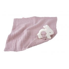 Kikadu Rabbit Rubber Toy with Pale Rose Towel