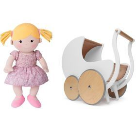1st Birthday Walker Pram and Organic Ella Doll Package