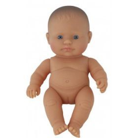 Miniland Doll Naked Baby Doll Caucasian Girl, 21 cm