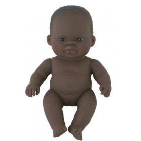 Miniland Doll Naked Baby Doll African Girl 21 cm
