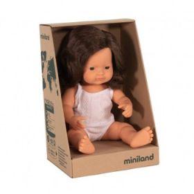 Miniland Caucasian Girl, Brunette, 38 cm