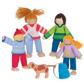 GOKI - Flexible Doll Family with Dog