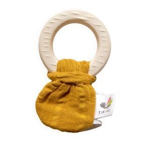 Natural Rubber Teether with a Mustard Muslin Tie