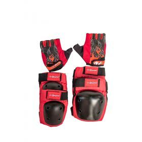 Red Elbow & Knee Pads with Gloves