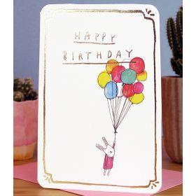 Birthday Card - Gold Bunny Balloons