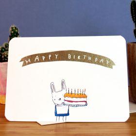 Birthday Card - Gold Bunny Birthday Cake