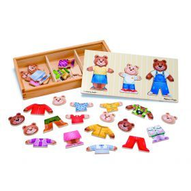 Melissa & Doug - Wooden Bear Family Dress Up - 45pc