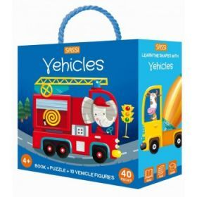 Sassi 3D Puzzle and Book Set - Learn Shapes Vehicles