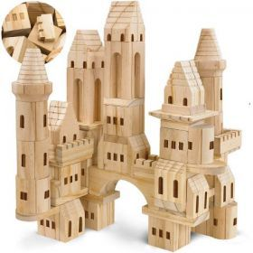 FAO Schwarz Toy Wooden Castle Blocks 75pc