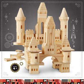 FAO Schwarz Toy Wooden Castle Blocks 75pc