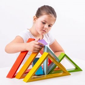 Wooden Stacking Triangles Rainbow Colours
