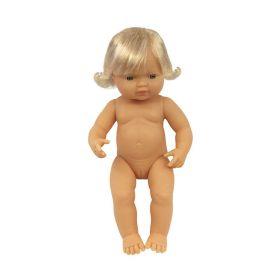 Miniland Doll Naked Baby Caucasian Girl, 38 cm