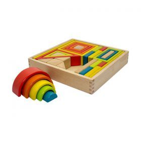 Wooden Shape Set With Rainbow Blocks and Much More