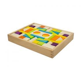 54 Wooden Blocks with Storage Bag & Tray