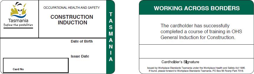 A Tasmanian (TAS) White Card