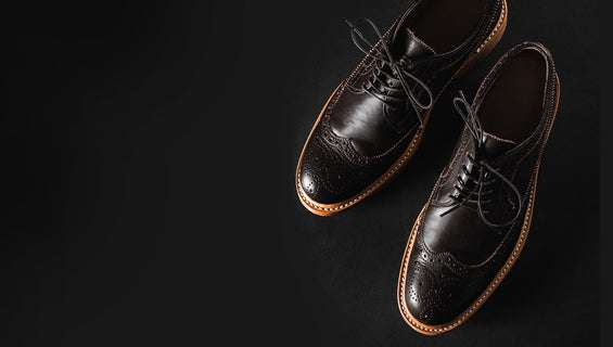 Leather shoes on dark background