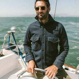 The Maritime Shirt Jacket in Navy Donegal Lambswool: Alternate Image 1