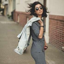 The Eva Dress in Indigo Stripe: Alternate Image 5