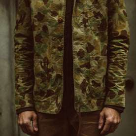 Our fit model wearing The Ojai Jacket in Arid Camo Dry Wax.